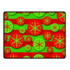 Snowflake Red And Green Pattern Fleece Blanket (small) by Valentinaart