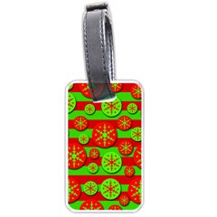 Snowflake Red And Green Pattern Luggage Tags (one Side)  by Valentinaart