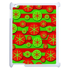 Snowflake Red And Green Pattern Apple Ipad 2 Case (white) by Valentinaart