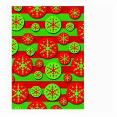 Snowflake Red And Green Pattern Large Garden Flag (two Sides) by Valentinaart
