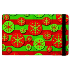 Snowflake Red And Green Pattern Apple Ipad 2 Flip Case by Valentinaart