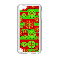 Snowflake Red And Green Pattern Apple Ipod Touch 5 Case (white) by Valentinaart