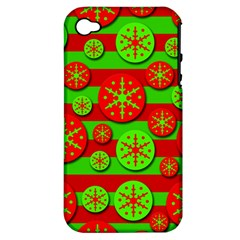 Snowflake Red And Green Pattern Apple Iphone 4/4s Hardshell Case (pc+silicone) by Valentinaart