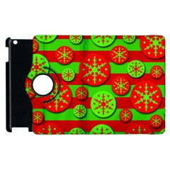 Snowflake Red And Green Pattern Apple Ipad 2 Flip 360 Case by Valentinaart