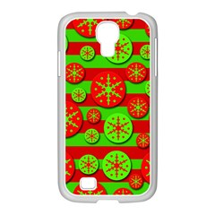 Snowflake Red And Green Pattern Samsung Galaxy S4 I9500/ I9505 Case (white) by Valentinaart