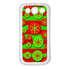 Snowflake Red And Green Pattern Samsung Galaxy S3 Back Case (white) by Valentinaart