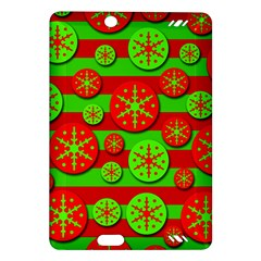 Snowflake Red And Green Pattern Amazon Kindle Fire Hd (2013) Hardshell Case by Valentinaart