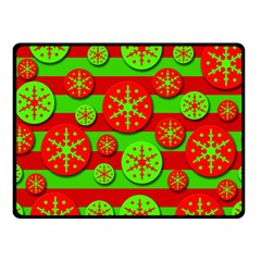 Snowflake Red And Green Pattern Double Sided Fleece Blanket (small)  by Valentinaart