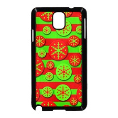 Snowflake Red And Green Pattern Samsung Galaxy Note 3 Neo Hardshell Case (black) by Valentinaart