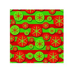 Snowflake Red And Green Pattern Small Satin Scarf (square) by Valentinaart