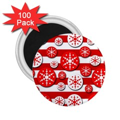 Snowflake Red And White Pattern 2 25  Magnets (100 Pack)  by Valentinaart