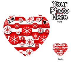 Snowflake Red And White Pattern Playing Cards 54 (heart)  by Valentinaart