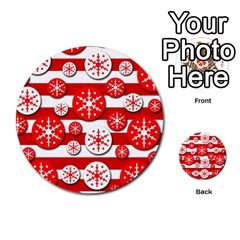 Snowflake Red And White Pattern Multi Purpose Cards (round)