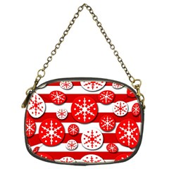 Snowflake Red And White Pattern Chain Purses (one Side)  by Valentinaart