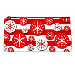 Snowflake Red And White Pattern Pencil Cases by Valentinaart