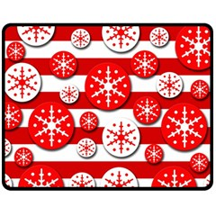 Snowflake Red And White Pattern Fleece Blanket (medium)  by Valentinaart