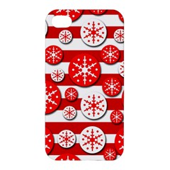 Snowflake Red And White Pattern Apple Iphone 4/4s Hardshell Case by Valentinaart