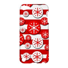 Snowflake Red And White Pattern Apple Ipod Touch 5 Hardshell Case by Valentinaart