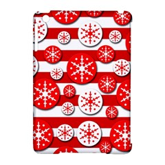 Snowflake red and white pattern Apple iPad Mini Hardshell Case (Compatible with Smart Cover) by Valentinaart
