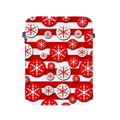 Snowflake Red And White Pattern Apple Ipad 2/3/4 Protective Soft Cases by Valentinaart