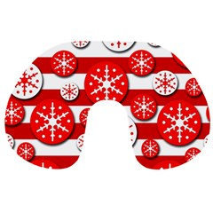 Snowflake Red And White Pattern Travel Neck Pillows by Valentinaart