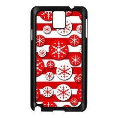 Snowflake Red And White Pattern Samsung Galaxy Note 3 N9005 Case (black) by Valentinaart