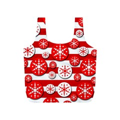 Snowflake Red And White Pattern Full Print Recycle Bags (s)  by Valentinaart