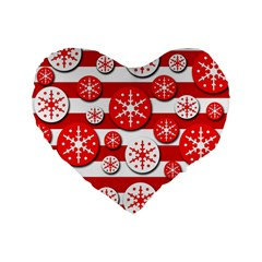 Snowflake Red And White Pattern Standard 16  Premium Flano Heart Shape Cushions by Valentinaart