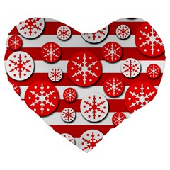 Snowflake Red And White Pattern Large 19  Premium Flano Heart Shape Cushions by Valentinaart