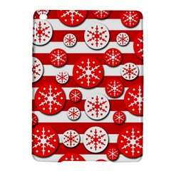 Snowflake Red And White Pattern Ipad Air 2 Hardshell Cases by Valentinaart