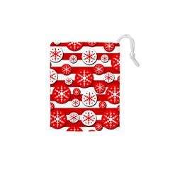 Snowflake Red And White Pattern Drawstring Pouches (xs)  by Valentinaart