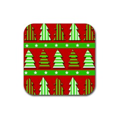 Christmas Trees Pattern Rubber Square Coaster (4 Pack)  by Valentinaart