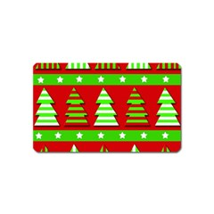 Christmas trees pattern Magnet (Name Card) by Valentinaart