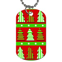 Christmas Trees Pattern Dog Tag (two Sides) by Valentinaart