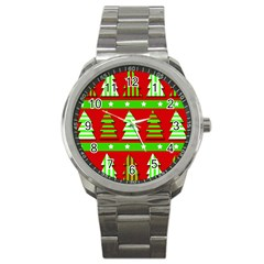Christmas Trees Pattern Sport Metal Watch by Valentinaart