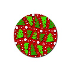 Twisted Christmas trees Rubber Coaster (Round)  by Valentinaart