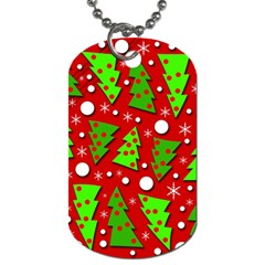 Twisted Christmas Trees Dog Tag (two Sides) by Valentinaart