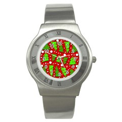 Twisted Christmas Trees Stainless Steel Watch by Valentinaart