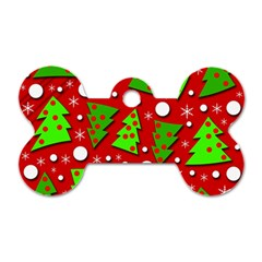 Twisted Christmas Trees Dog Tag Bone (one Side) by Valentinaart