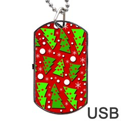 Twisted Christmas Trees Dog Tag Usb Flash (two Sides)  by Valentinaart