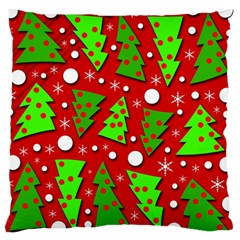 Twisted Christmas Trees Large Cushion Case (one Side) by Valentinaart