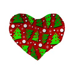 Twisted Christmas Trees Standard 16  Premium Flano Heart Shape Cushions by Valentinaart