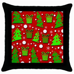 Christmas Trees And Gifts Pattern Throw Pillow Case (black) by Valentinaart