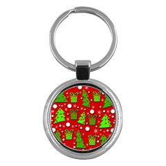 Christmas Trees And Gifts Pattern Key Chains (round)  by Valentinaart