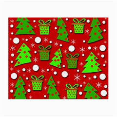 Christmas Trees And Gifts Pattern Small Glasses Cloth (2 Side) by Valentinaart