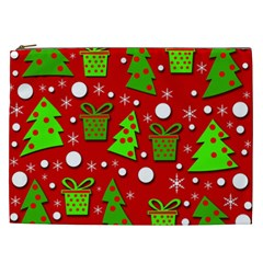 Christmas Trees And Gifts Pattern Cosmetic Bag (xxl)  by Valentinaart