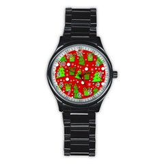 Christmas Trees And Gifts Pattern Stainless Steel Round Watch by Valentinaart