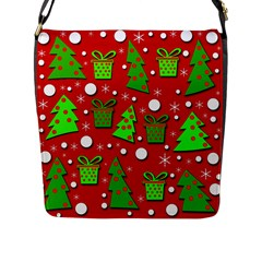 Christmas Trees And Gifts Pattern Flap Messenger Bag (l)  by Valentinaart