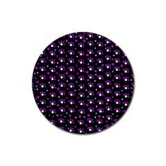 Purple Dots Pattern Rubber Coaster (round)  by Valentinaart