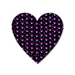 Purple Dots Pattern Heart Magnet by Valentinaart
